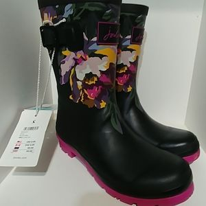 Joules Molly Welly Black Floral Size 7